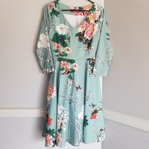 Japanese style floral dress pockets anime large